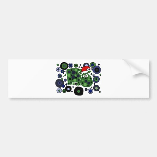 Awesome Hippo Christmas Art Abstract Bumper Sticker