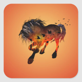 Awesome horse square sticker
