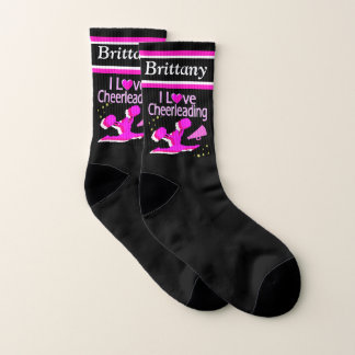 AWESOME I LOVE CHEERLEADING PERSONALIZED SOCKS 1