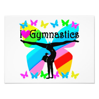 AWESOME I LOVE GYMNASTICS BUTTERFLY DESIGN ART PHOTO