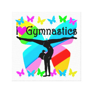 AWESOME I LOVE GYMNASTICS BUTTERFLY DESIGN CANVAS PRINT