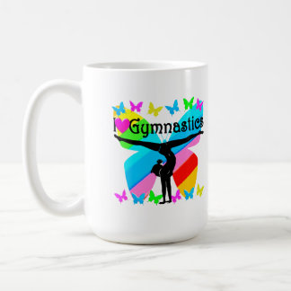 AWESOME I LOVE GYMNASTICS BUTTERFLY DESIGN COFFEE MUG