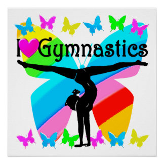 AWESOME I LOVE GYMNASTICS BUTTERFLY DESIGN PERFECT POSTER