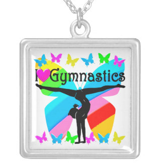AWESOME I LOVE GYMNASTICS BUTTERFLY DESIGN SILVER PLATED NECKLACE