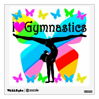 AWESOME I LOVE GYMNASTICS BUTTERFLY DESIGN WALL DECAL
