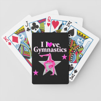 AWESOME I LOVE GYMNASTICS DESIGN BICYCLE PLAYING CARDS