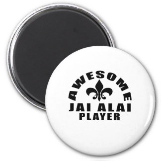 AWESOME JAI ALAI PLAYER 2 INCH ROUND MAGNET