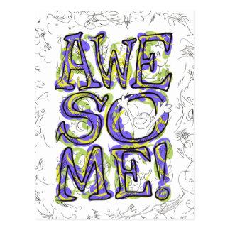 """""""Awesome!"""" Lettering Postcard"""