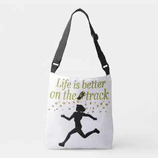 AWESOME LIFE IS BETTER ON THE TRACK DESIGN CROSSBODY BAG