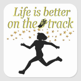AWESOME LIFE IS BETTER ON THE TRACK DESIGN SQUARE STICKER