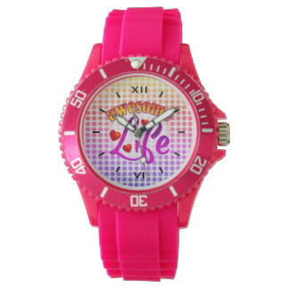 Awesome Life Rainbow Colored Dots Watch