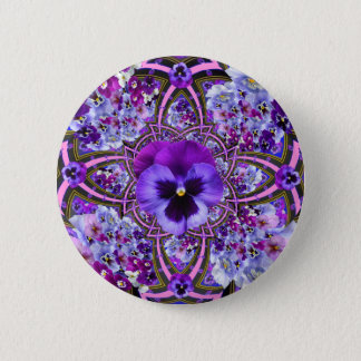 AWESOME LILAC PURPLE PANSIES GARDEN ART 2 INCH ROUND BUTTON