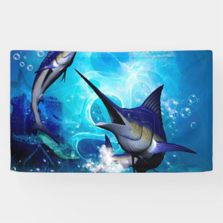 Awesome marlin with bubbles banner