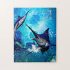 Awesome marlin with bubbles jigsaw puzzle