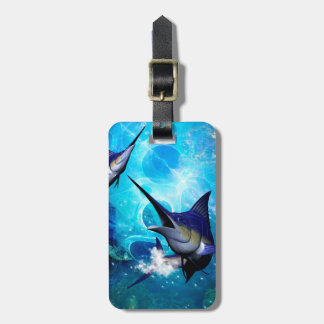 Awesome marlin with bubbles luggage tag