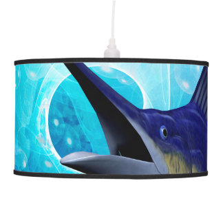 Awesome marlin with bubbles pendant lamp