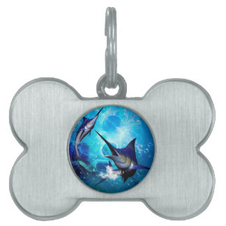 Awesome marlin with bubbles pet tag
