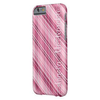 Awesome Matte Pink Stripes-Plaid-Crosshatch Barely There iPhone 6 Case