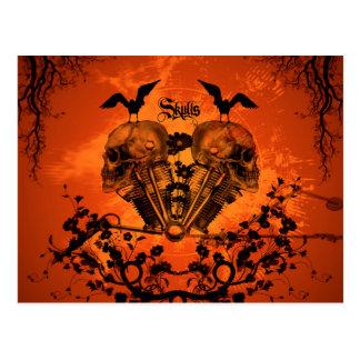 Awesome mechanical skull postcard
