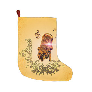 Awesome microphone and clef large christmas stocking