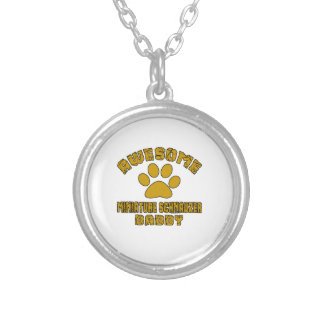 AWESOME MINIATURE SCHNAUZER DADDY SILVER PLATED NECKLACE