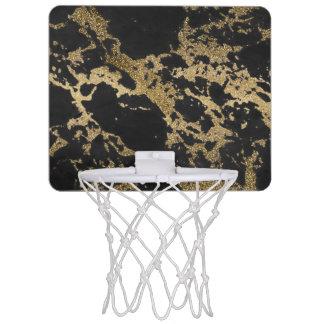 Awesome modern faux gold glitter black marble mini basketball backboard