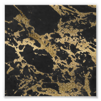 Awesome modern faux gold glitter black marble photograph
