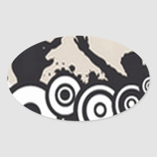 Awesome music vector design oval sticker