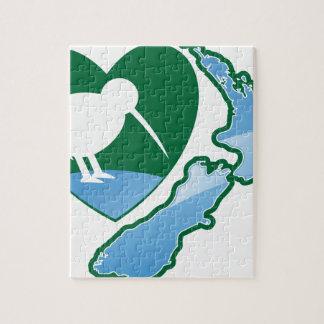 Awesome New Zealand Kiwi bird with map Jigsaw Puzzle