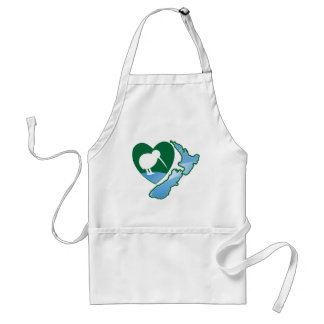 Awesome New Zealand Kiwi bird with map Standard Apron