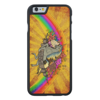 Awesome Overload Unicorn, Rainbow & Bacon Maple Carved Maple iPhone 6 Case