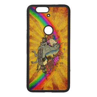 Awesome Overload Unicorn, Rainbow & Bacon Maple Wood Nexus 6P Case