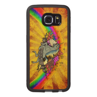 Awesome Overload Unicorn, Rainbow & Bacon Maple Wood Phone Case