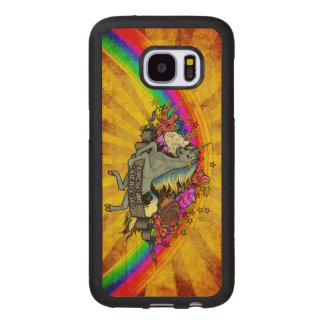 Awesome Overload Unicorn, Rainbow & Bacon Maple Wood Samsung Galaxy S7 Case
