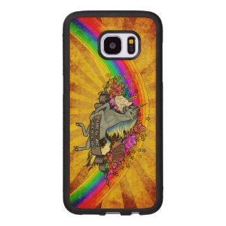 Awesome Overload Unicorn, Rainbow & Bacon Maple Wood Samsung Galaxy S7 Edge Case