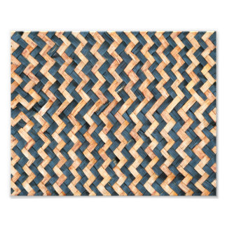 awesome pattern blue and Gold Foil Metallic Photo Print