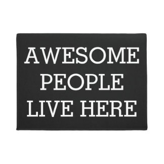 Door Mats - Awesome People Live Here Black Funny Doormat