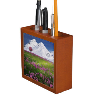 Awesome PInk Mountain Flowers Desk Organizer