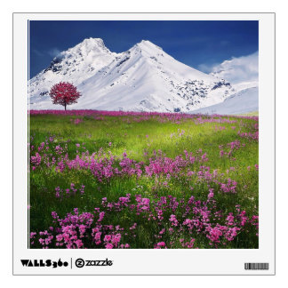 Awesome Pink Mountain Flowers Square Decal