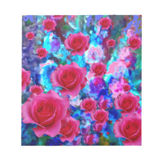 AWESOME PINK ROSES BLUE FLORAL gifts Notepad