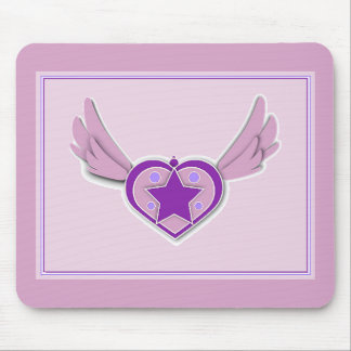 Awesome Pink Wings and Heart Mouse Pad