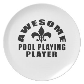 AWESOME POOL PLAYING PLAYER DINNER PLATE