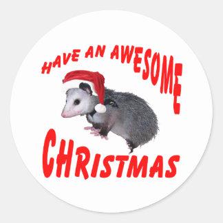 Awesome Possum Christmas Round Sticker