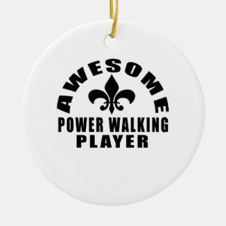 AWESOME POWER WALKING PLAYER ROUND CERAMIC ORNAMENT