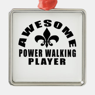 AWESOME POWER WALKING PLAYER Silver-Colored SQUARE ORNAMENT