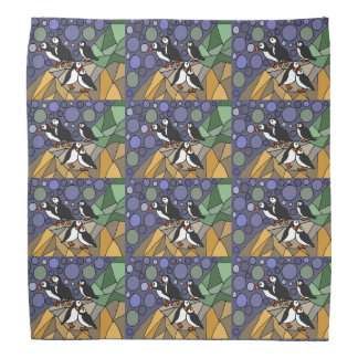 Awesome Puffin Birds Art Abstract Bandana