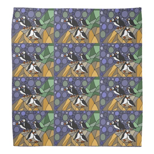 Awesome Puffin Birds Art Abstract Head Kerchief
