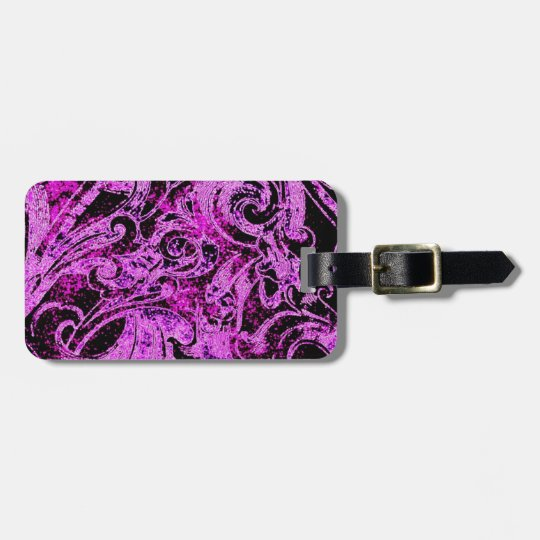 Awesome Purple & Black Abstract Design Bag Tag