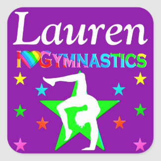 AWESOME PURPLE I LOVE GYMNASTICS STICKER