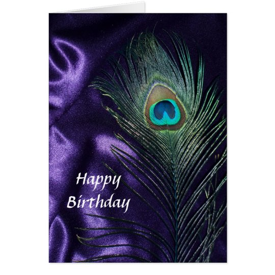 Awesome Purple Peacock Feather Card